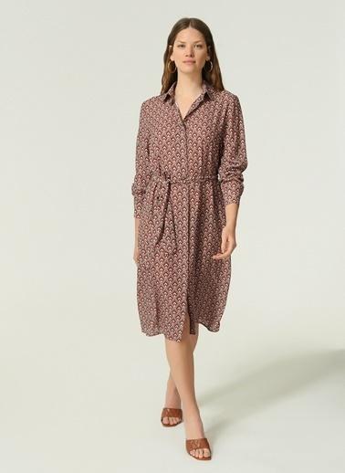 NGSTYLE NGSTYLE Kadın Geometrik Desenli Elbise Bordo